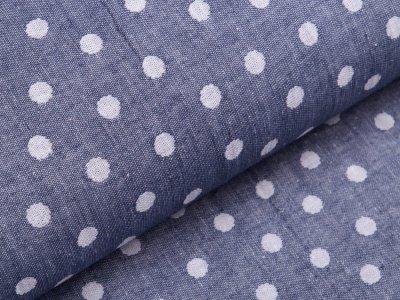 Jacquard Doubleface - Dots - jeansblau