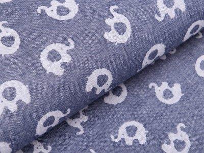 Jacquard Doubleface - Elefanten - jeansblau