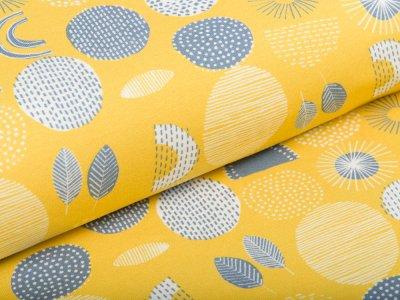 Jersey Swafing Little King - gemusterte Blätter und Kreise - gelb