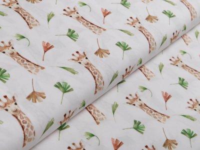 Webware Popeline Baumwolle Digitaldruck - Giraffen - weiß