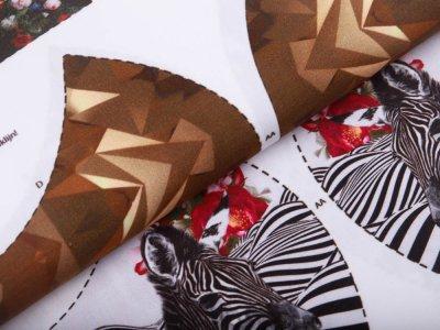 Webware Baumwolle PANEL ca. 100 cm x 150 cm für Behelfsmasken - 20 verschiedene Motive - weiß