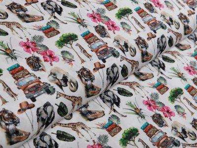 Webware Popeline Baumwolle Digitaldruck - Safari mit wilden Tieren - weiß