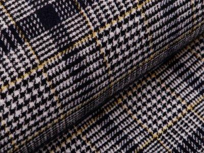 Wollstoff mit Fellabseite - Hahnentritt - weiß/schwarz