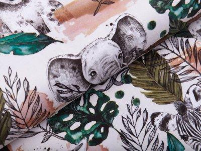 Webware Baumwolle Aquarell - Dschungeltiere und Blätter - weiß