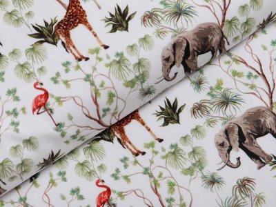 Webware Popeline Baumwolle Digitaldruck - Giraffen und Zebras - weiß