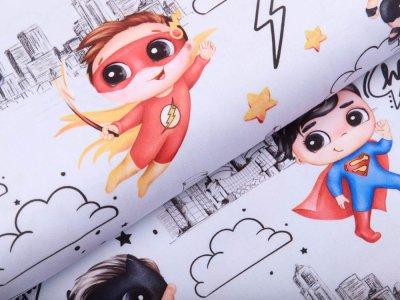 Webware Baumwolle - Superhelden Boys - weiß