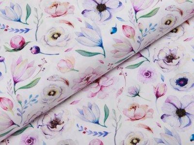 Webware Popeline Baumwolle Digitaldruck - hübsche Blumen - weiß