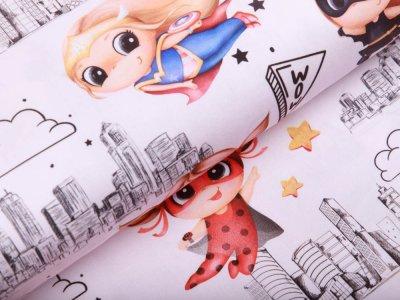 Webware Baumwolle - Superhelden Girls - rosa