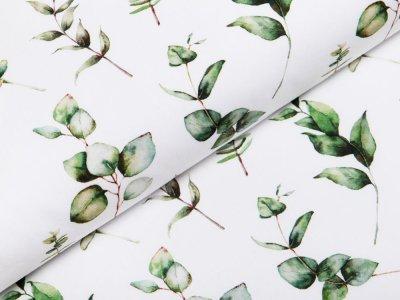 Webware Popeline Baumwolle Digitaldruck - verschieden Blätter - weiß