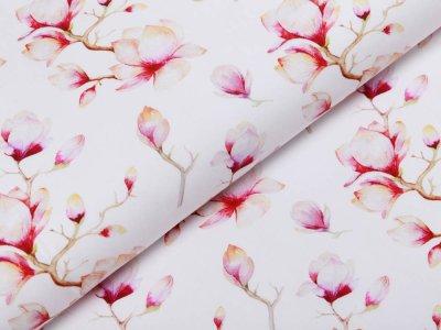 Webware Popeline Baumwolle Digitaldruck - Magnolien - weiß
