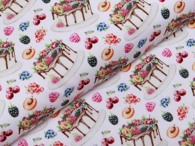Webware Popeline Baumwolle Digitaldruck - Früchte und Torten - weiß
