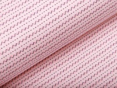 Feinripp-Jersey - Zickzack-Linien - rosa