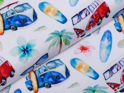 Webware Popeline Baumwolle Digitaldruck - Bullis und Surfbretter - weiß