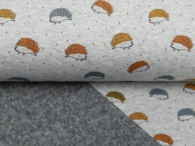 Alpenfleece Melange - kleine Igelchen - meliert grau