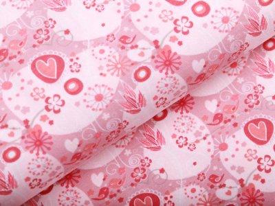 Jersey - Herzen und Blüten - altrosa