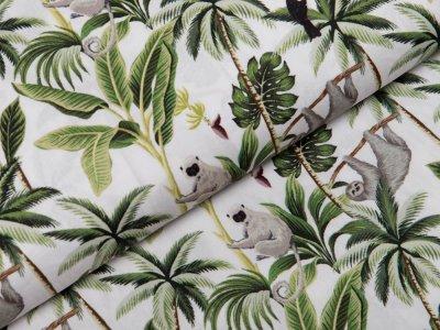 Webware Popeline Baumwolle Digitaldruck - Tukane und Faultiere - weiß