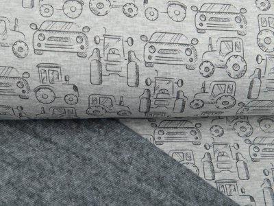 Alpenfleece Melange - verschiedene Fahrzeuge - meliert grau