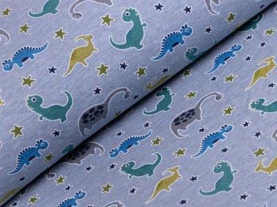 Alpenfleece - Dinos - meliert blau