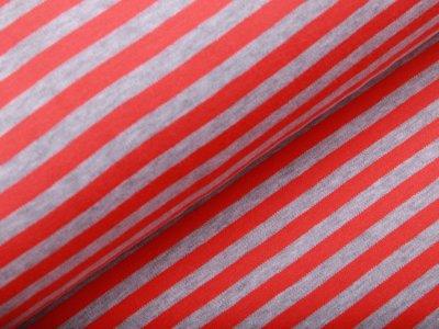 Jersey - Streifen - grau/lachs