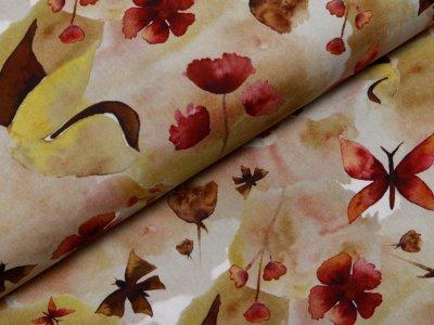 Webware Popeline Baumwolle Digitaldruck - Aquarelle Blüten und Schmetterlinge - weiß/kahki