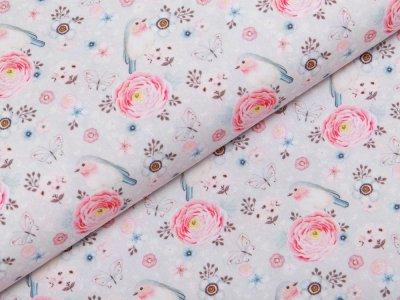 Webware Popeline Baumwolle Digitaldruck - süße Rotkehlchen und Ranunkeln - pastellgrau