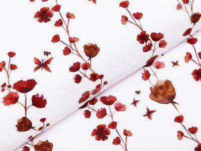 Webware Popeline Baumwolle Digitaldruck - Aquarelle Blüten - weiß