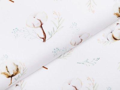 Webware Popeline Baumwolle Digitaldruck - Baumwollzweige - weiß