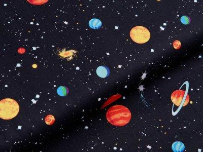 Webware Baumwolle Swafing Kim - verschiedene Planeten - schwarz