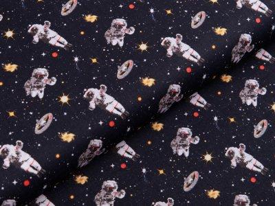 Webware Baumwolle Swafing Kim - Astronauten im Weltall - schwarz