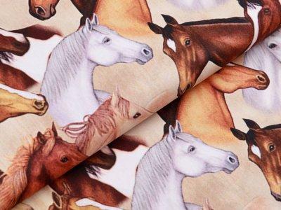 Webware Baumwolle Swafing Kim - verschiedene Pferdeköpfe - creme