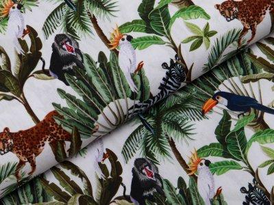 Webware Popeline Baumwolle Digitaldruck - Tukane und wilde Tiere - weiß