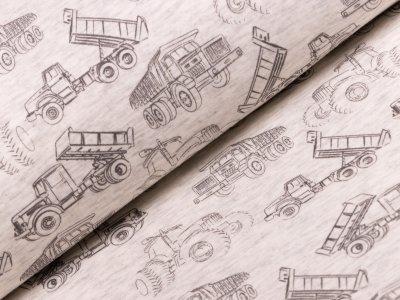 Alpenfleece - Maschinenfahrzeuge - meliert beige