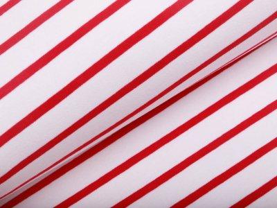 Interlock-Jersey - Streifen - weiß/rot