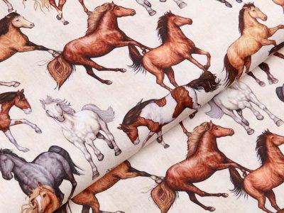 Webware Baumwolle Swafing Kim - verschiedene Pferde - creme
