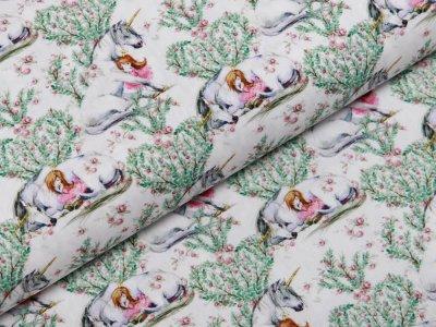 Webware Popeline Baumwolle Digitaldruck - Einhörner und Mädchen - weiß