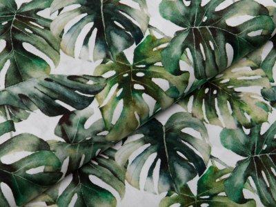 Webware Popeline Baumwolle Digitaldruck - Monstera-Blätter - weiß