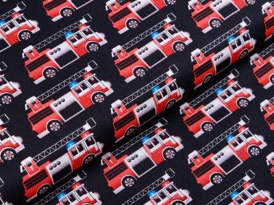 Webware Baumwolle Swafing Kim - Feuerwehrautos - schwarz
