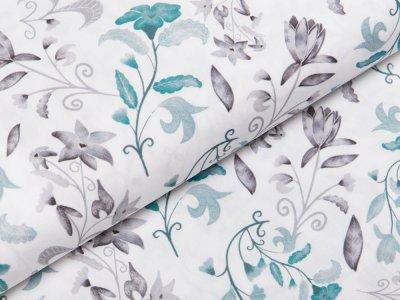 Webware Popeline Baumwolle Digitaldruck - Blumen - weiß
