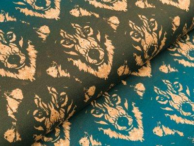 Jersey Eigenproduktion KDS KaZuMi - Wolf mit Glitzer-Optik - olive-blau-gold