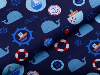 Webware Baumwolle Popeline - Wale und Boote - nachtblau