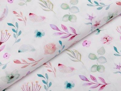 Webware Popeline Baumwolle Digitaldruck - Blumen und Zweige - weiß