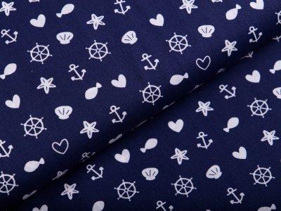 Webware Baumwolle Popeline - Seesterne und Muscheln - nachtblau