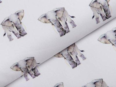 Webware Popeline Baumwolle Digitaldruck - Elefanten - weiß
