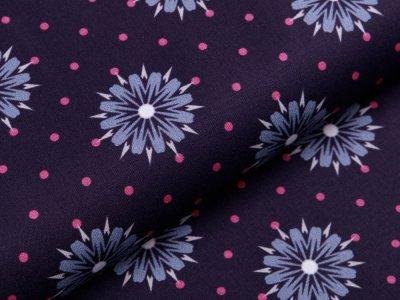 Webware Baumwolle Swafing Kim - Blumen auf Punkte - aubergine