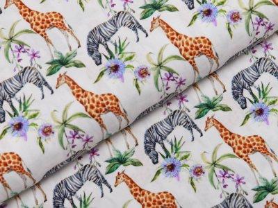 Webware Popeline Baumwolle Digitaldruck - Zebras und Giraffen - weiß