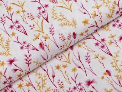Webware Popeline Baumwolle Digitaldruck - Blumenwiese - weiß