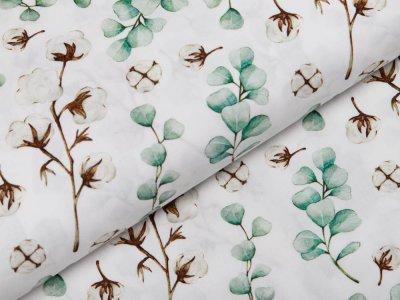 Webware Popeline Baumwolle Digitaldruck - Eukalyptus und Baumwolle - weiß