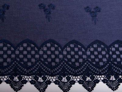 Leichter Bordüren-Jeansstoff mit Stickerei - Blumen - jeansblau