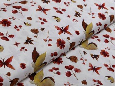 Webware Popeline Baumwolle Digitaldruck - Blüten und Schmetterlinge - weiß