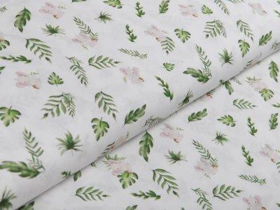 Webware Popeline Baumwolle Digitaldruck - Baby Elefanten und Blätter - weiß